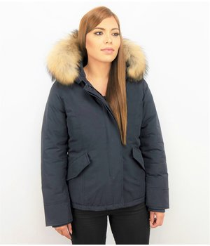 TheBrand Women's Short Winter Jacket - Ladies Quilted Jacket - Blue