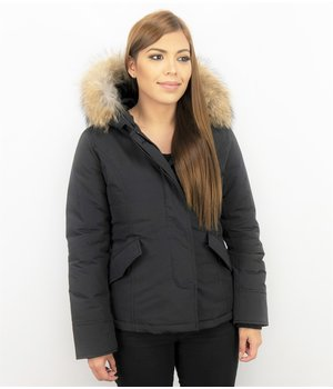 TheBrand Women's Short Winter Jacket - Quilted Jacket Ladies - Black