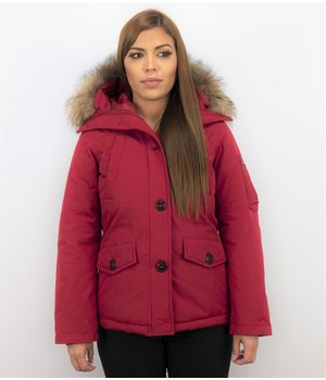 TheBrand Fur Collar Coat - Women's Winter Coat Short - Parka Stitch Bag - Red