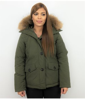 TheBrand Fur Collar Coat - Women's Winter Coat Short - Parka Stitch Bag - Green