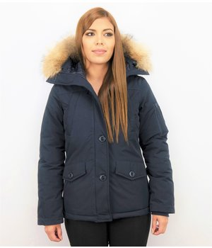 TheBrand Fur Collar Coat - Women's Winter Coat Short - Parka Stitch Bag - Blue