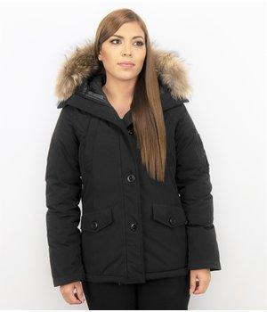 TheBrand Fur Collar Coat - Women's Winter Coat Short - Parka Stitch Bag - Black