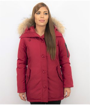 TheBrand Fur Collar Coat - Women's Winter Coat Long - Parka Stitch Bag - Red