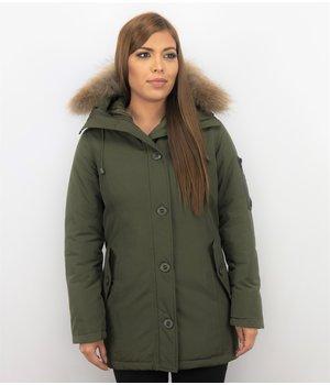 TheBrand Fur Collar Coat - Women's Winter Coat Long - Parka Stitch Bag - Green