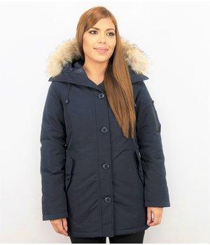 TheBrand Fur Collar Coat - Women's Winter Coat Long - Parka Stitch Bag - Blue