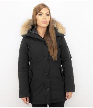 TheBrand Fur Collar Coat - Women's Winter Coat Long- Parka Stitch Bag - Black
