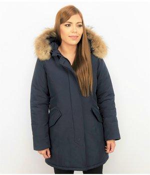 TheBrand Fur Collar Coat - Women's Winter Coat Long - Parka Stitch Pocket- Blue