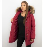 TheBrand Fur Collar Coat - Women's Winter Coat Long - Parka Stitch Pocket- Red