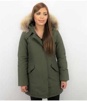 TheBrand Fur Collar Coat - Women's Winter Coat Long - Parka Stitch Pocket -  Khaki