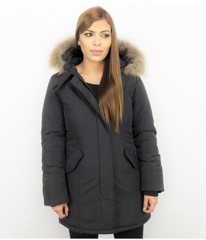 TheBrand Fur Collar Coat - Women's Winter Coat Wooly Long - Parka Stitch Pockets - Black