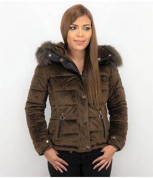 Z-design Suede Ladies Winter Jacket - Women Biker Jacket - Brown