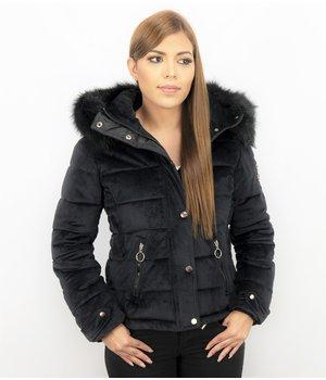 Z-design Suede Ladies Winter Jacket - Ladies Biker Jacket - Black