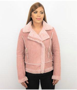 Z-design Ladies Biker Jacket - Women Lammy Coat Suede - Pink