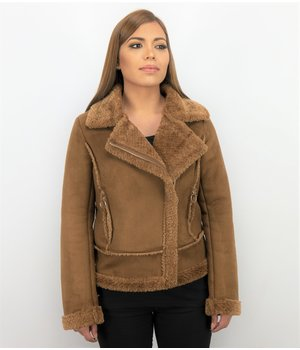 Z-design Women Lammy Coat Suede - Brown