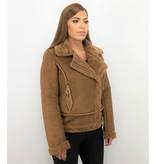 Z-design Biker Jacket Ladies - Women Lammy Coat Suede - Brown
