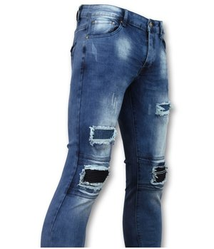New Stone Men's Biker Jeans Knie Ripped  - 1061 - Blue