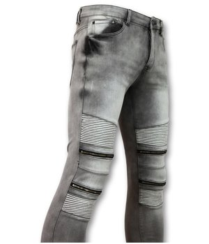 New Stone Men's BikerJeans With Zipper - Stretch Jeans New - 3001 - Gray