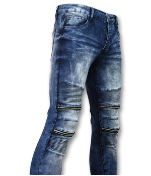 New Stone Men  BikerJeans With Zipper - Stretch Jeans New - 3001 - Blue