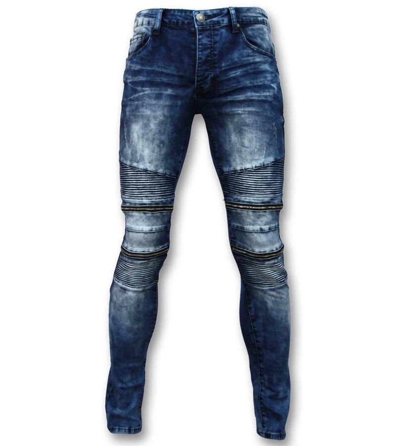 New Stone Men  BikerJeans With Zipper - Stretch Jeans New - 3001 - Blue