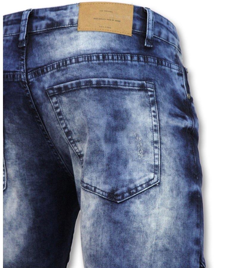 New Stone Biker Jeans With Knie Zip - 3001 - Blue