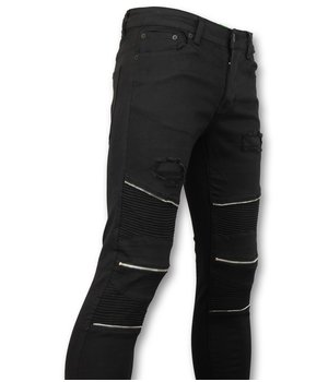 New Stone Men's Ripped Biker Jeans - 1017 - Black