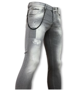 Doger Men's Paint Splatter Jeans - D32 - Grey