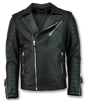 Enos Biker Faux Men Leather Jacket - Black