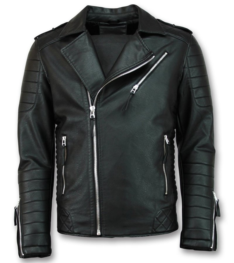 Enos Biker Faux Men Leather Jacket - Black