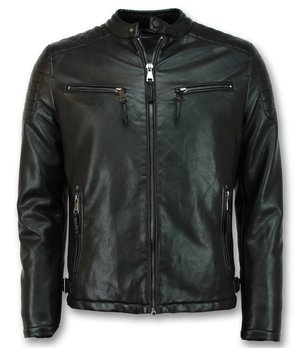 Enos Imitation Leather Jacket Men - Biker Jacket - Black