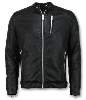Enos Men's Fake Leather Jacket - Motorcycle Jacket - Black