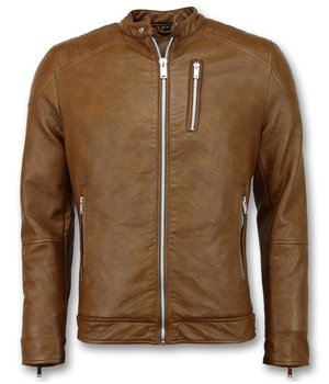Enos Fake Leather Jacket Men - Motorcycle Jacket - Brown