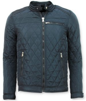 Enos Slim Fit Jacket - Men's Jacket Short Model  - Blue