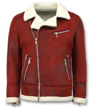 Frilivin Imitation Fur Coat for Men - Lammy Coat - Red