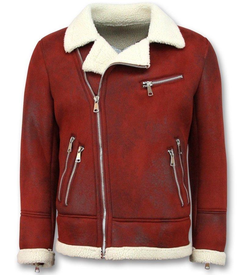Frilivin Imitation Fur Coat for Men - Lammy Coat - Red