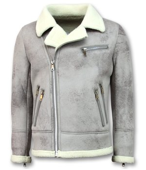 Frilivin Men Imitation Fur Coat  - Lammy Coat Winter Jacket - Grey