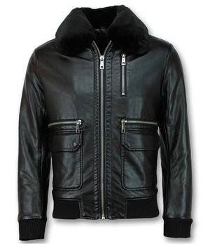 Wareen W Pilot Leather Jacket For Men - Black