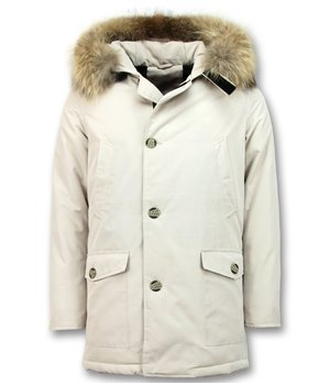 Enos Men's Winter Jacket Parka - Large Real Fur Collar - Beige