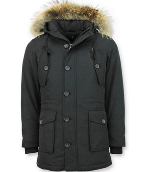 Tony Backer Long Winter Jacket Men - Large Fur Collar - Black