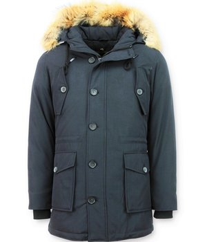 Tony Backer Long Winter Jacket Men - Large Fur Collar Coat - Blue