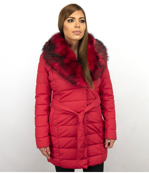 Adrexx Long Parka Women Winter Jacket - With Red Fur Collar - Red