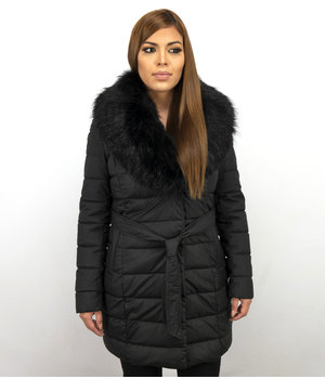 Adrexx Long Parka Women's Winter Jacket - With Black Fur Collar - Black