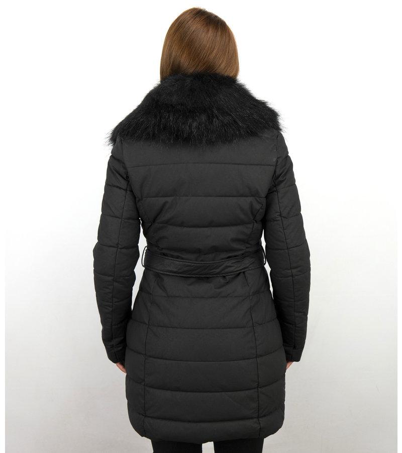 Adrexx Long Parka Women's Winter Jacket - With Black Fur Collar - Black