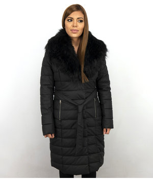Adrexx Long Ladies Winter Jacket Parka - With Black Fur Collar Women - Black