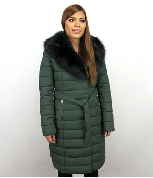Adrexx Long Ladies Winter Jacket Parka - With Black Fur Collar Women - Green