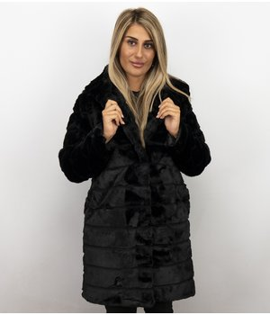 Save Style Women Fur Coat Long - Black