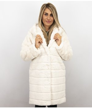 Save Style Women Fur Coat Long - White