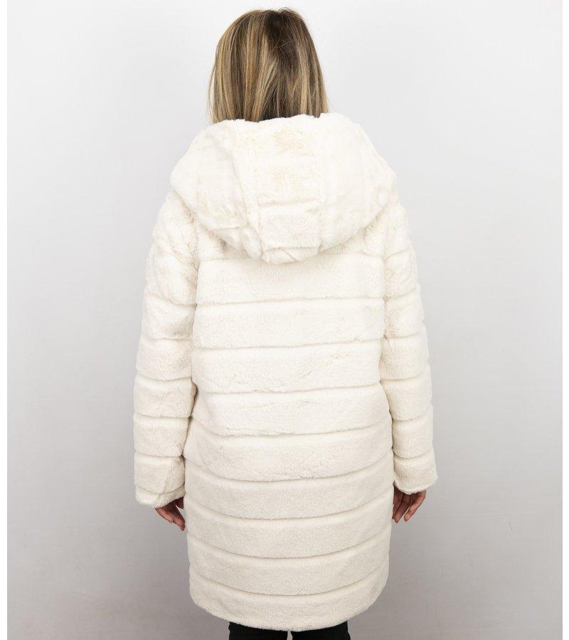 Save Style Imitation Fur Coat Women - Parka Ladies Jacket - White