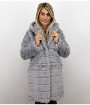 Save Style Women Fur Coat Long - Light Grey