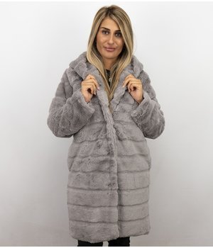 Save Style Ladies Parka Jacket - Imitation Fur Coat Women - Lila