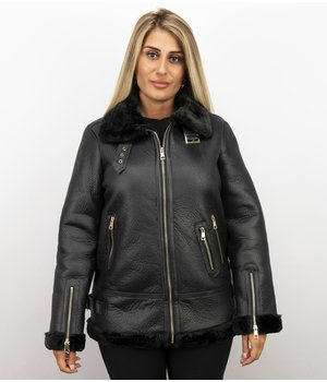 Z-design Shearling Lammy Coat For Ladies - Black